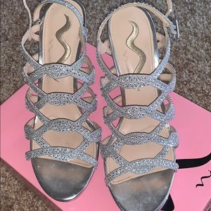 Silver sparkle shoes high heels